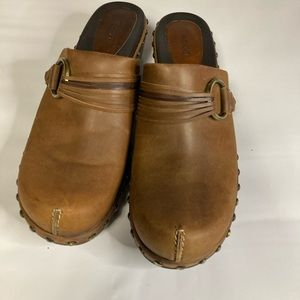 Ecco Womens Brown Clog Mules Slip On Shoes 41.